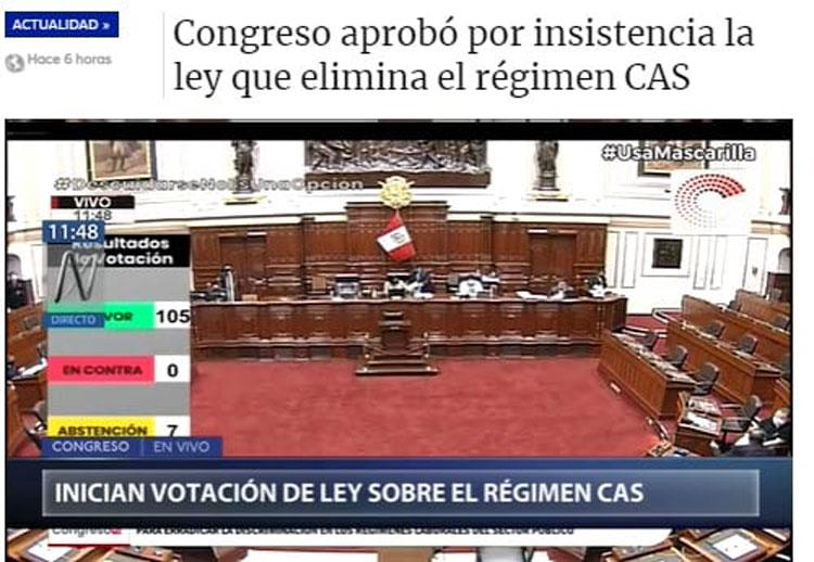 CONGRESO APROBÓ POR INSISTENCIA LA LEY QUE ELIMINA EL RÉGIMEN CAS